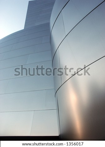 Metallic Disney Hall building, downtown Los Angeles.