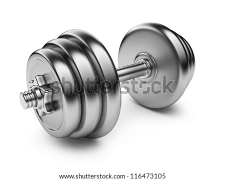 Metallic dumbbell. 3D Icon isolated on white background