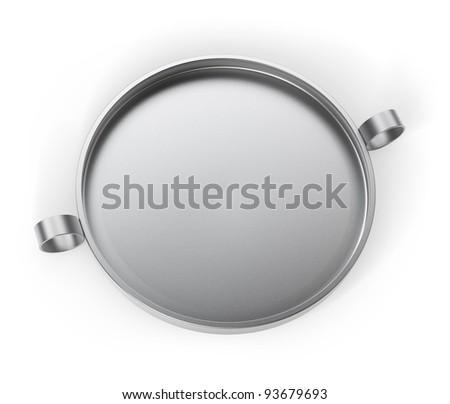 Metallic empty tray isolated on white 3d model - stock photo