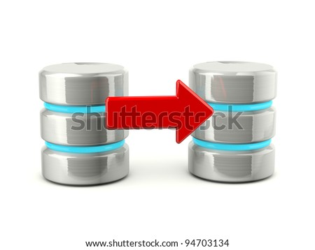 Metallic export data base icon isolated on white