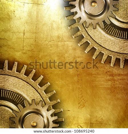 metallic gears with golden background