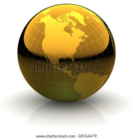 Metallic golden globe illustration with highly detailed continents and geographical grid facing North America