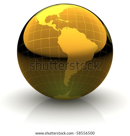 Metallic golden globe illustration with highly detailed continents and geographical grid facing South America