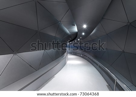 Metallic gray / blue corridor (interior) Technology background