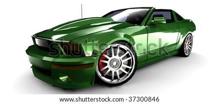 Metallic Green Cars Metallic Green Sports Car With