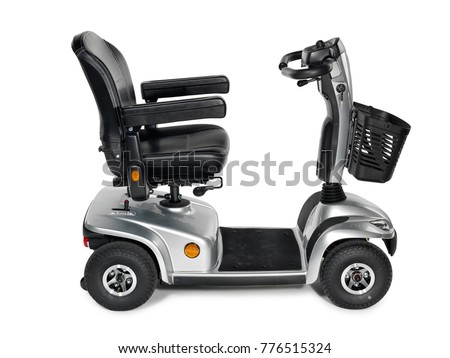 Metallic grey four wheel mobility scooter with front basket on white background.