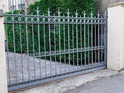 metallic grey steel suburb metal aluminum gray house gate and slats