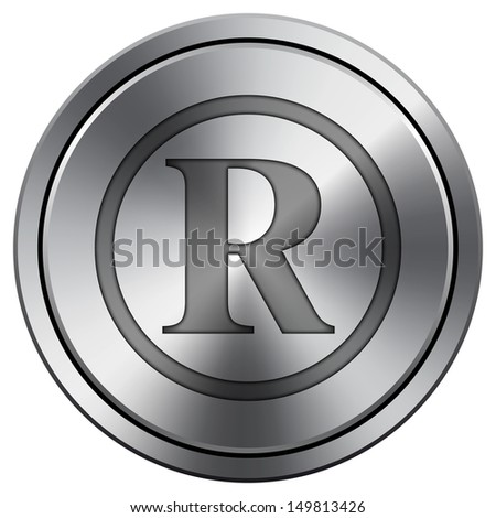 Metallic icon with carved design