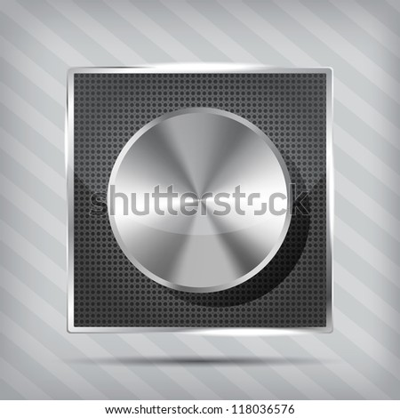 metallic icon with chrome volume knob on the striped background - stock photo