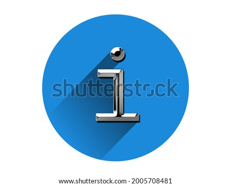 Metallic information info tips symbol, metal look icon on blue circle . 3d illustration ストックフォト ©
