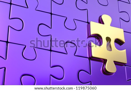 Metallic jigsaw puzzle and outstanding golden piece with keyhole as a symbol of disclosure puzzle. 3d render