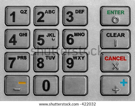 metallic keypad of an automated teller machine