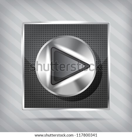 metallic knob with play icon on the striped background