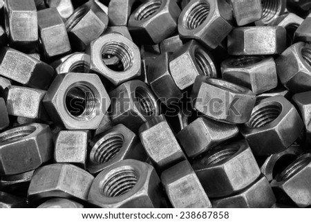 Metallic large size bolts pattern and background