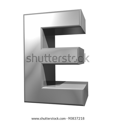 metallic letter E isolated on white background