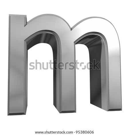 metallic letter m isolated on white background