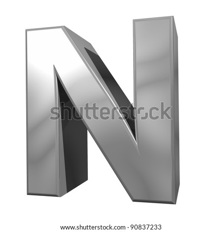 metallic letter N isolated on white background