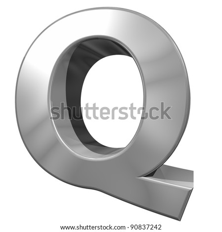 metallic letter Q isolated on white background