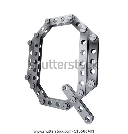 Metallic letter (Q) with rivets and screws isolated on white background 3d render high resolution