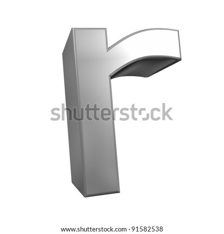 metallic letter r isolated on white background