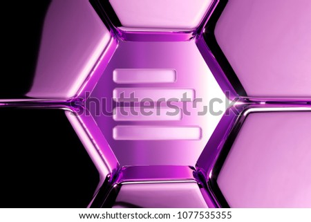 Metallic Magenta Align Text to Left Icon in the Luxury Honeycomb. 3D Illustration of Magenta Align, Alignment, Direction, Left, Page, Position Icons on Magenta Geometric Hexagon Pattern. #1077535355