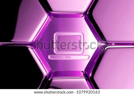 Metallic Magenta Laptop Glass Icon in the Luxury Honeycomb. 3D Illustration of Magenta Internet, Technology, Laptop, Computing, Electronic Icons on Magenta Geometric Hexagon Pattern. #1079920163