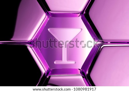 Metallic Magenta Martini Glass Icon in the Luxury Honeycomb. 3D Illustration of Magenta Alcohol, Cocktail, Glass Icons on Magenta Geometric Hexagon Pattern. #1080981917