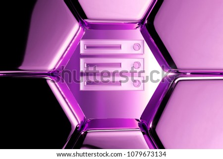 Metallic Magenta Server Icon in the Luxury Honeycomb. 3D Illustration of Magenta Data, Database, Files, Fileserver, Internet, Server Icons on Magenta Geometric Hexagon Pattern. #1079673134