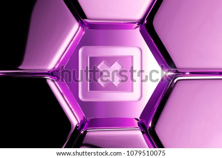 Metallic Magenta Window Close Contour Icon in the Luxury Honeycomb. 3D Illustration of Magenta Cancel, Close, Delete, Dismiss, Modal, Remove Icons on Magenta Geometric Hexagon Pattern. #1079510075