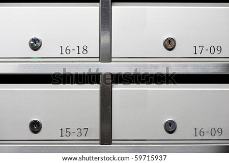 metallic mailbox array tidy inside apartment houses