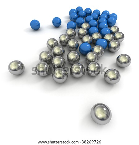 Metallic marbles in blue and silver against a white background
