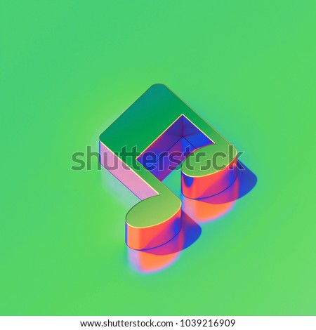 Metallic Music Note Icon on Candy Style Green Background. 3D Illustration of Notes, Music, Audio Isometric Icon Set.