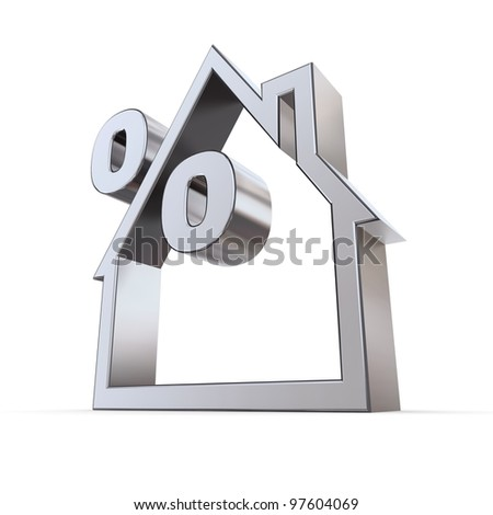 metallic outline of a house on white background with a percent symbol formed by the roof