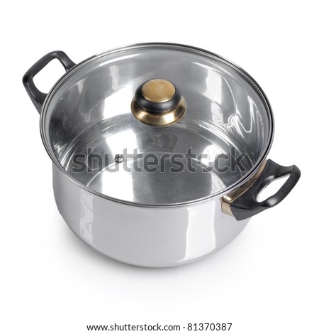 Metallic pan on isolated on white background