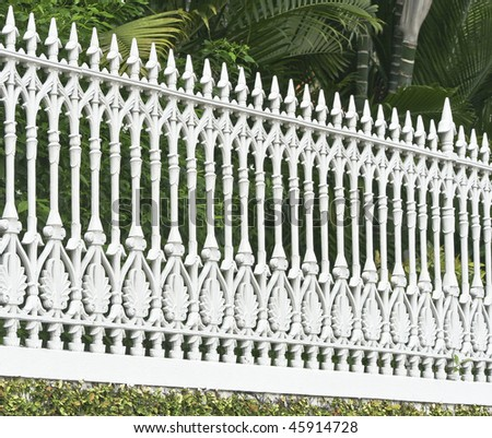 Metallic picket fence in the old city of Singapore