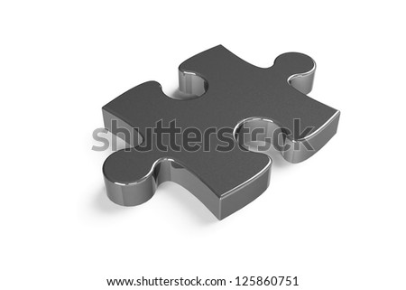 Metallic puzzle piece isolated on a white background