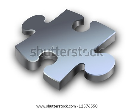 Metallic puzzle with shadow