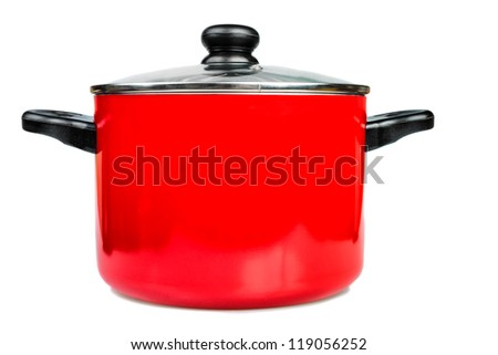 Metallic red cooking pot  with a glass lid isolated on a white background