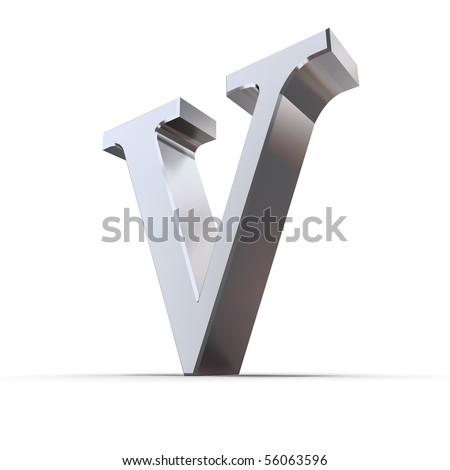 metallic roman numeral V - shiny number five