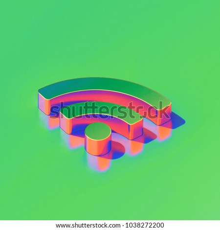 Metallic Rss Feed Icon on Candy Style Green Background. 3D Illustration of Blog, Feed, News, Rss Isometric Icon Set.