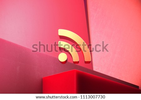 Metallic Rss Feed Icon on the Classic Red Background. 3D Illustration of Metallic Blog, Feed, News, Rss Icon Set With Color Boxes on Red Background.