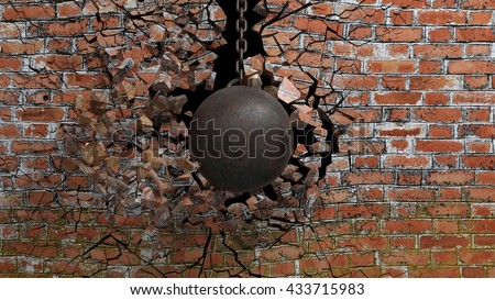 Metallic rusty wrecking ball on chain shattering an old brick wall. 3D rendering
