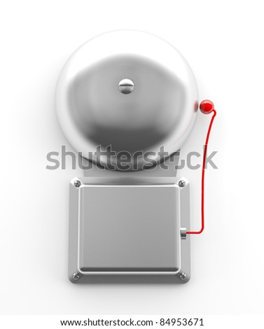 Metallic secure bell on white background (3d model)
