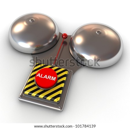 Metallic secure bell with a red button - Alarm. 3d illustration.