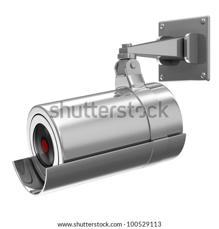 Metallic Security Camera isolated on white background