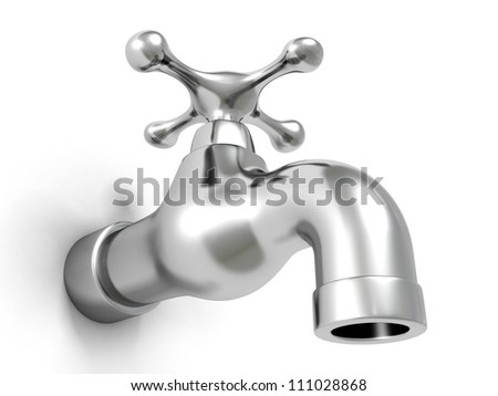 Metallic shiny water tap on white background