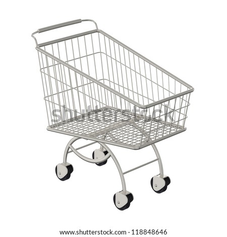 Metallic shopping cart. Isolated on a white