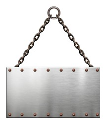 Metallic signboard with rusty chains isolated on white background