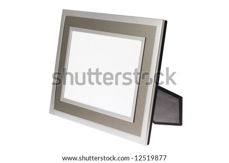 Metallic silver photo frame isolated on white background
