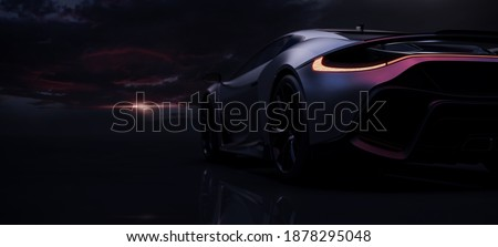 Metallic Silver sports car at dramatic sunset, focus on taillights (non-existent car design, full generic) - 3D illustration, 3D render Stockfoto ©